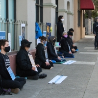Green Sangha members meditating in front of Chase Bank to protest funding of the Line 3 pipeline. March 2021.